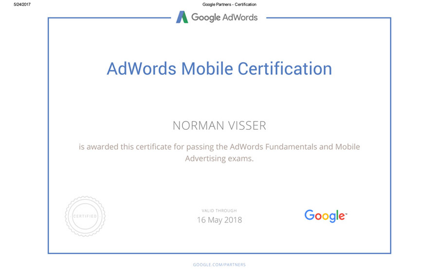 Google Adwords Fundamentals Certificate