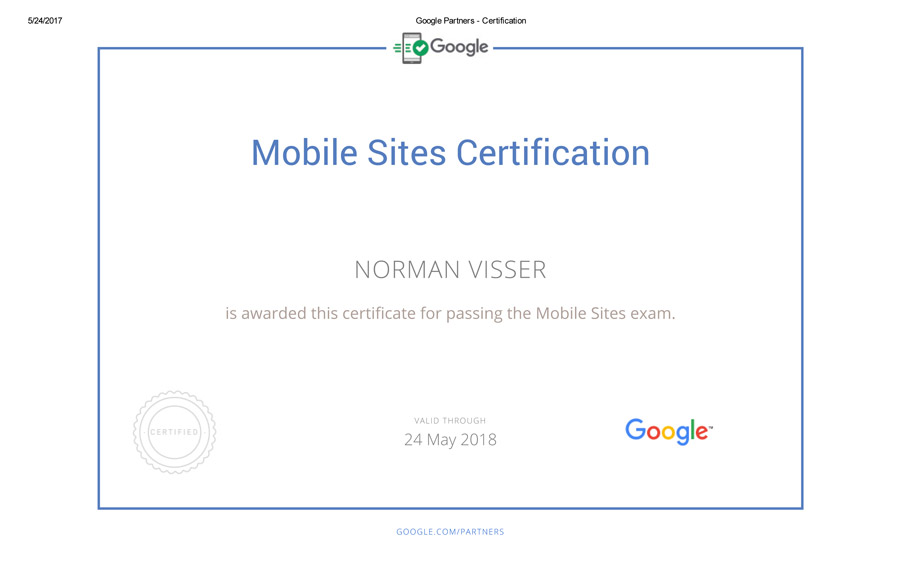 Google Adwords Mobile Sites Certificate