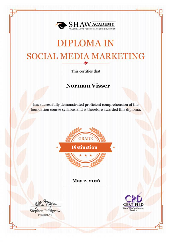 Diploma in Social Media Marketing RedHot Design